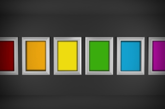 Colored paintings in minimal interior design