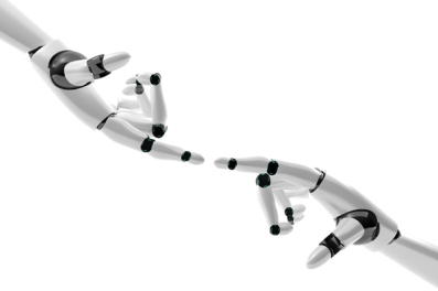 Robotic hand with fingers in contact